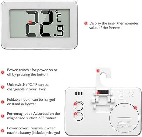 pack of 2 Henweit digitaler K/ühlschrank-Thermometer wasserdicht White