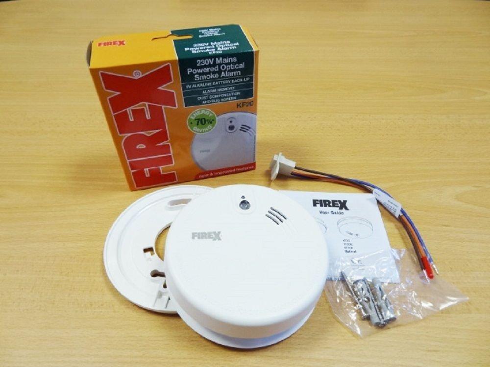 2 x Kidde Firex KF2 4973 Mains Powered Optical Smoke Alarm