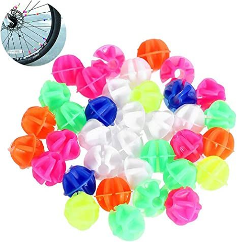 Luckycivia 144PCS Assorted Round Luminous Color Plastic Bicycle Spoke Beads Bike Tire Decorations Ornament Noctilucence Wheel Line Beads Small Bicycle Accessories for Wheelbarrow Children Adult Bicycle