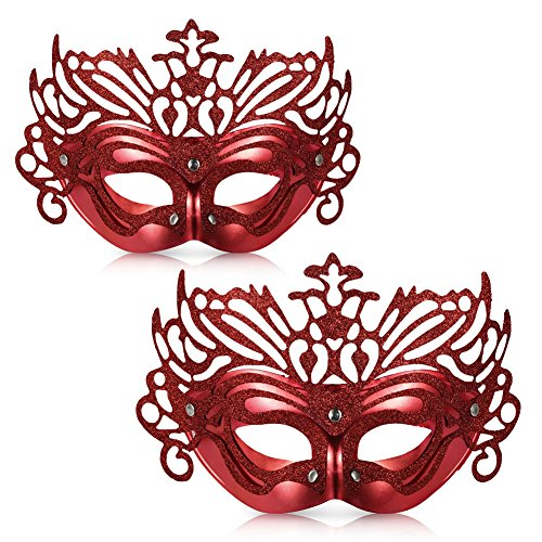 [Vbiger Masquerade Masks Costume Mask Party Venetian Masks For 2ps (Red)] (Red Masquerade Mask)