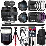 Canon EF 85mm f/1.8 USM Lens + Speedlite 430EX III-RT Flash + 0.43X Wide Angle Lens + 2.2x Telephoto Lens + UV-CPL-FLD Filters + Macro Filter Kit + 72 Monopod + Tripod - International Version