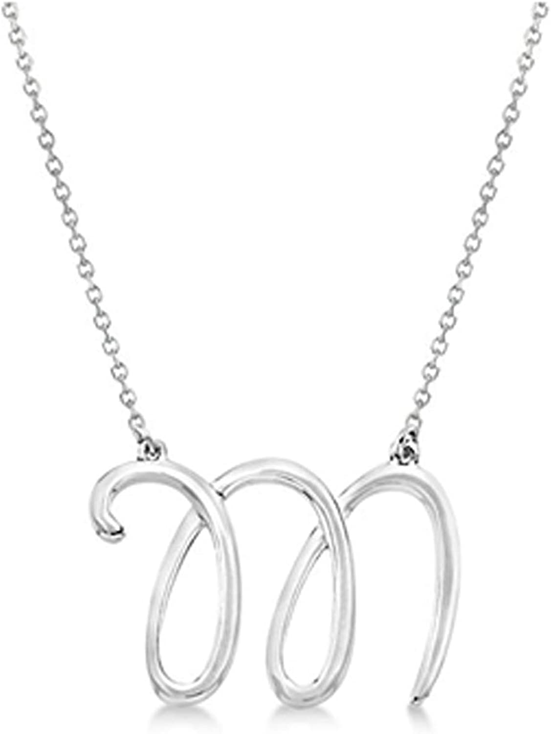 Personalized Cursive Script Single Initial Pendant in Sterling Silver Sterling Silver Necklace for Women /& Girls