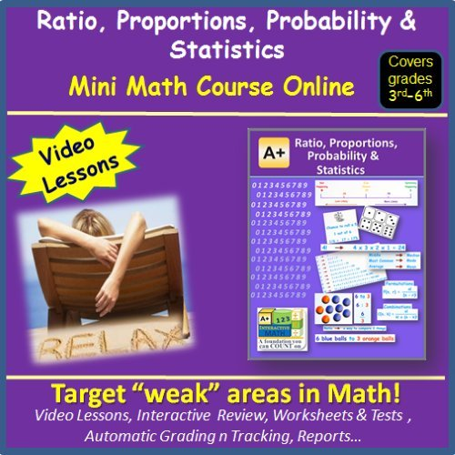 Learn about Ratio, Proportions, Probability and Statistics (covers 3rd to 6th grade) - Mini Math Course Online 1 Year - Video Lessons, Worksheets & Tests