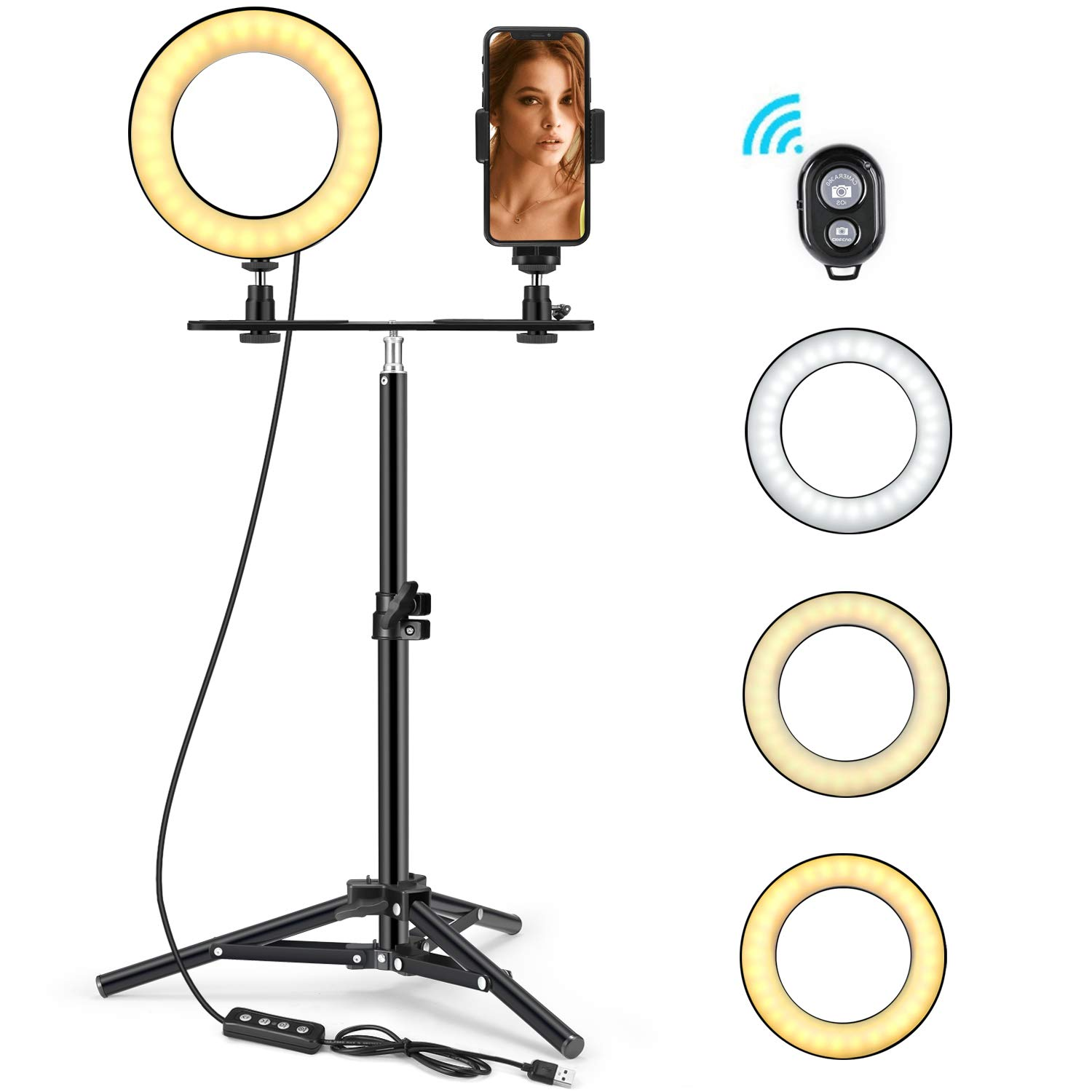LED Ring Light 6'' with Tripod Stand & Phone Holder for Live Streaming & YouTube Video, Dimmable Desk Makeup Ring Light for Photography, Shooting with 3 Light Modes & 10 Brightness Level (High-6'') by FOXIN (Image #1)