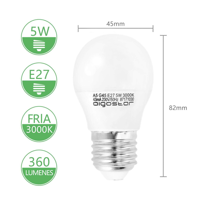 no regulable//- Caja de 10 unidades 400lm Clase de eficiencia energ/ética A+ Luz calida 3000K Aigostar -10 x E27 Bombilla LED G45 Casquillo gordo 5W