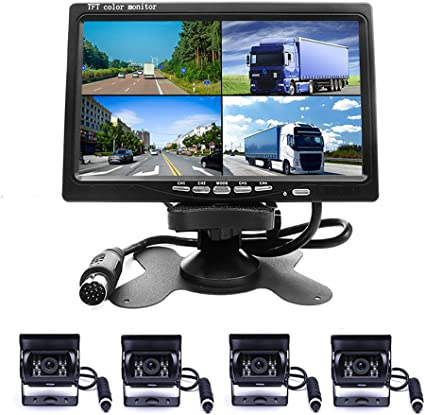 Camecho DC 12V 24V Vehicle Backup Camera System 2 x Rear View Camera Support Night Vision Waterpoof /& 7 Monitor with Dual 34ft AV Cables Hardwire for Bus Truck Van Trailer RV Campers