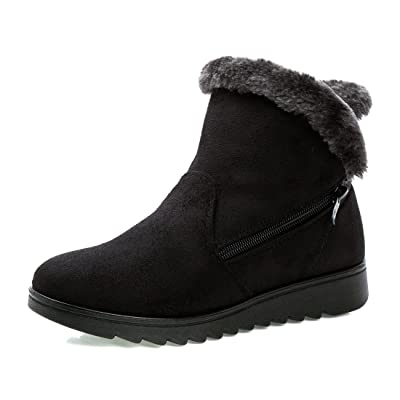 O&N Women Girls Faux Fur Winter Warm Ankel Boot Wide Calf Snow Boots