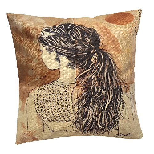Price comparison product image Monkeysell Newspaper Literary Women Face Cotton Linen Square Throw Pillow Case Decorative Cushion Cover Pillowcase Cushion Case for Sofa,Bed,Chair 18 X 18 Inch (S045B2)