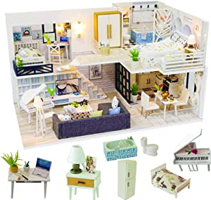 Spilay DIY Miniature Dollhouse Wooden Furniture Kit,Handmade Mini Modern Model Plus with Dust Cover & Music Box ,1:24 Scale Creative Doll House Toys for Children Girl Lover (Simple Time)