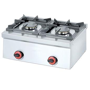 Macfrin 4412 Cocina de Sobremesa a Gas 2 Fuegos 9 Kw
