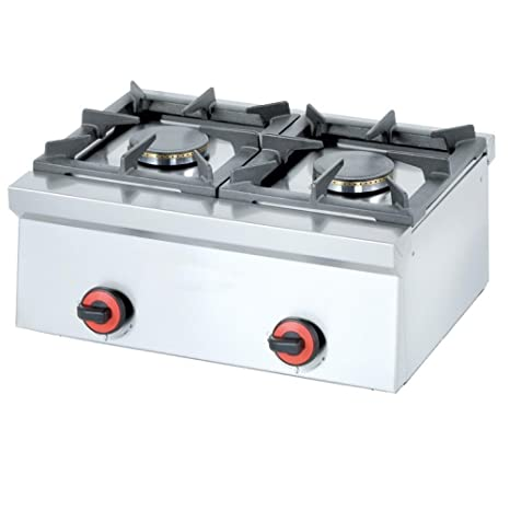 Macfrin 4412 Cocina de Sobremesa a Gas 2 Fuegos 9 Kw: Amazon ...