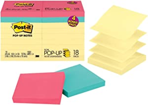 Post-it Pop-up Notes 3 in x 3 in, 18 Pads, America's's #1 Favorite Sticky Notes, Assorted Colors, Clean Removal, Recyclable (R330-14-4B)