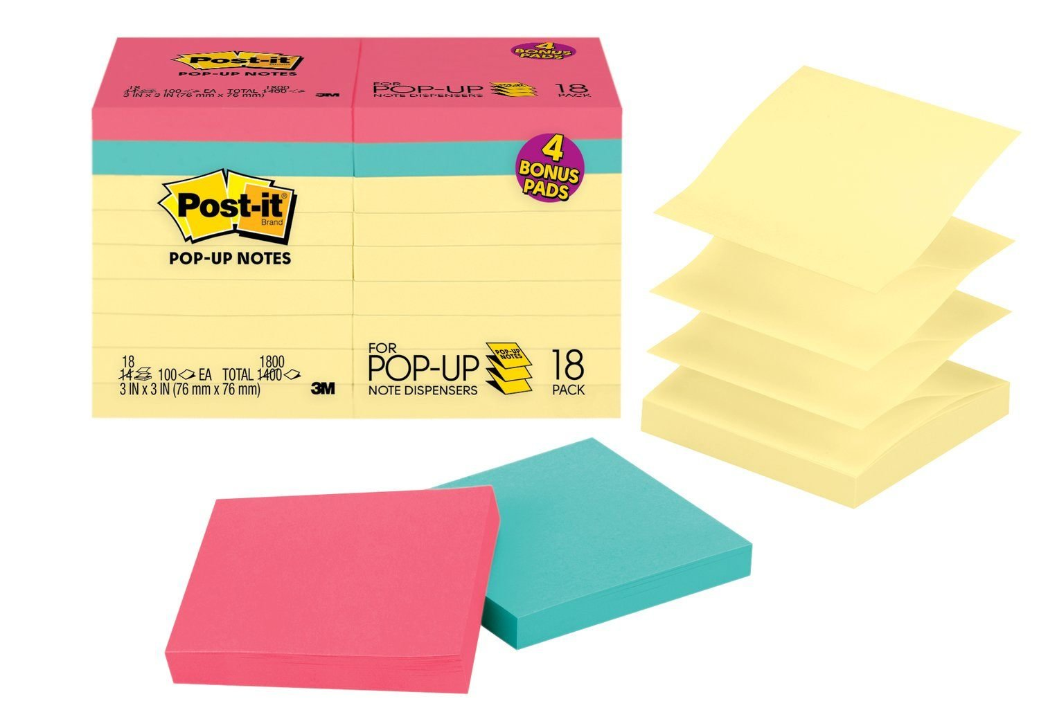 Post-it Pop-up Notes Value Pack, America's #1 Favorite Sticky Note, 3 in x 3 in, Canary Yellow and Cape Town Collection, 14 Pads/Pack Plus 4 Free Cape Town Collection Pads (R330-14-4B)