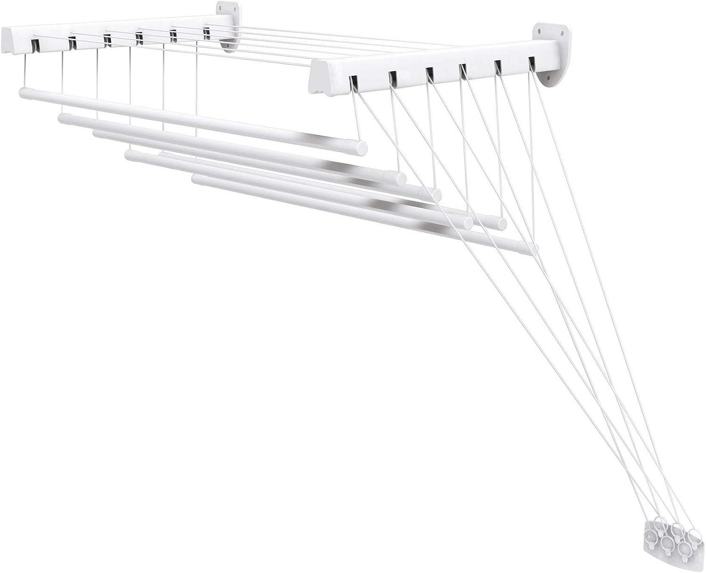 Gimi Lift 140 Tendedero de pared y techo de acero 8,5 m de longitud de tendido