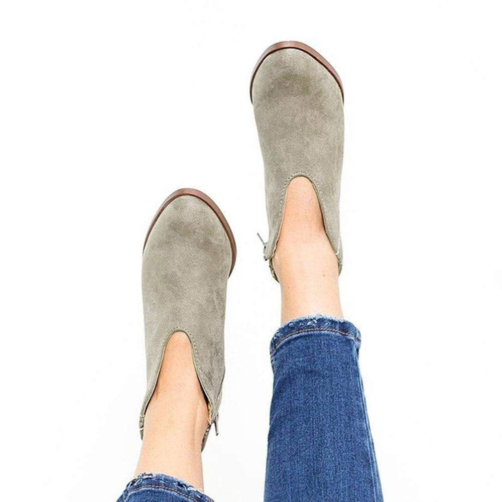 Lurryly Retro Women Square Heel Solid Color Suede Boots Zipper Boots Round Toe Shoes