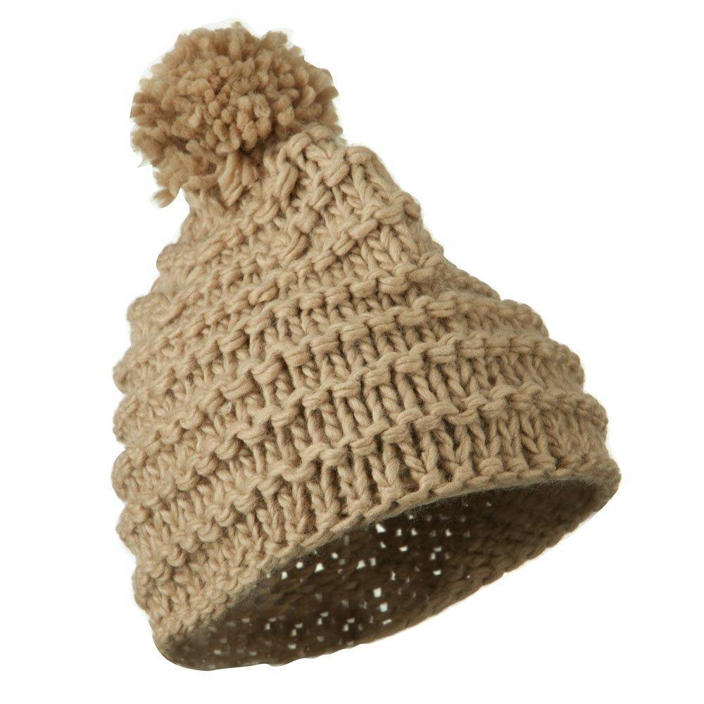 Tan W24S26F Knit Short Beanie Hat with Pom Pom