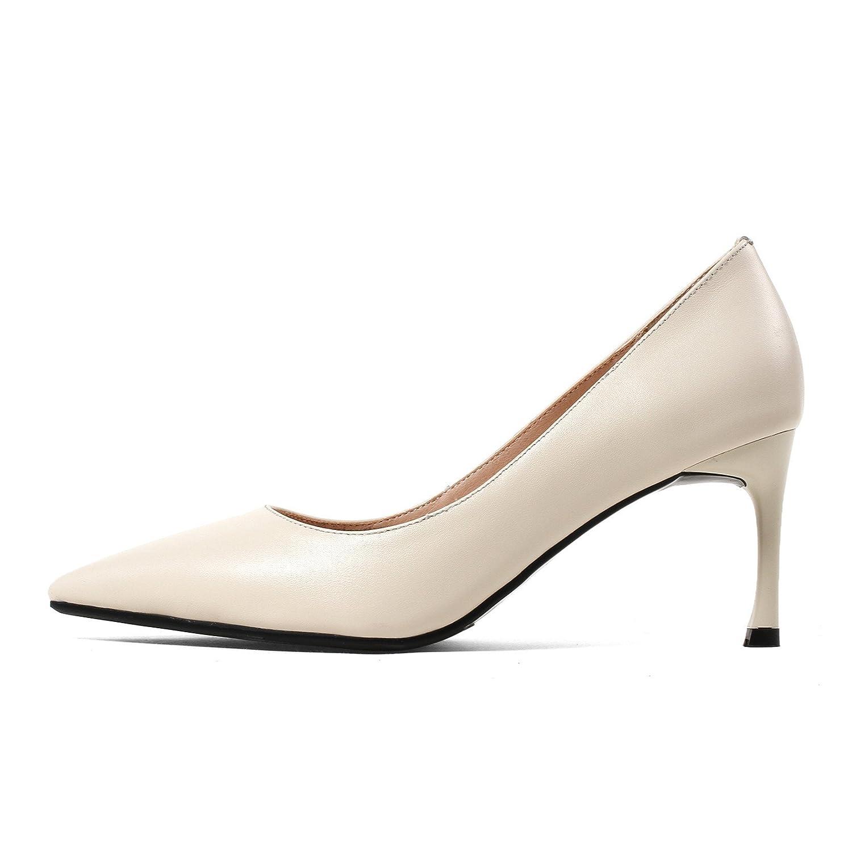 AJUNR Sandali Da Donna Alla Moda Scarpe unica punta scarpa leggera sottile con beige 8cm ad alta scarpe tacco 36