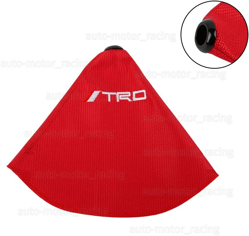 JDM TRD RED Racing Hyper Fabric shift knob Shifter Boot Cover MT//AT Red Stitches