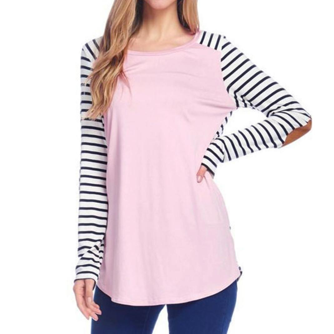 Autumn Women Blouse ,MOKAO Women Elegant Striped Stitching Sleeve Patch T- shirt Casual O-Neck Long Sleeve Cotton Blouse Top (XL, Pink)