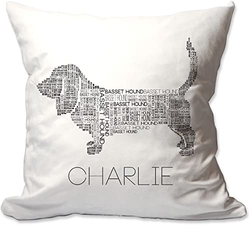 Pattern Pop Personalized Basset Hound Word Silhouette Throw Pillow