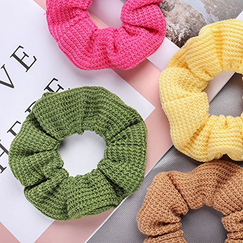 Whaline 12 Colors Hair Scrunchies Knit Elastic Hair Bobbles Hair Scrunchy Soft Ponytail Holder Hair Bands for Kids Adults by Whaline (Image #7)