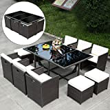 TANGKULA Patio Furniture Outdoor Wicker Rattan Dining Set Cushioned Seat Garden Sectional Conversation Sofa with Glass Top Coffee Table (11pcs) Review