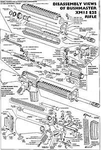 amazon.com: xm-15 diagram glossy poster picture photo ar ... ar 15 stock carbine parts diagram