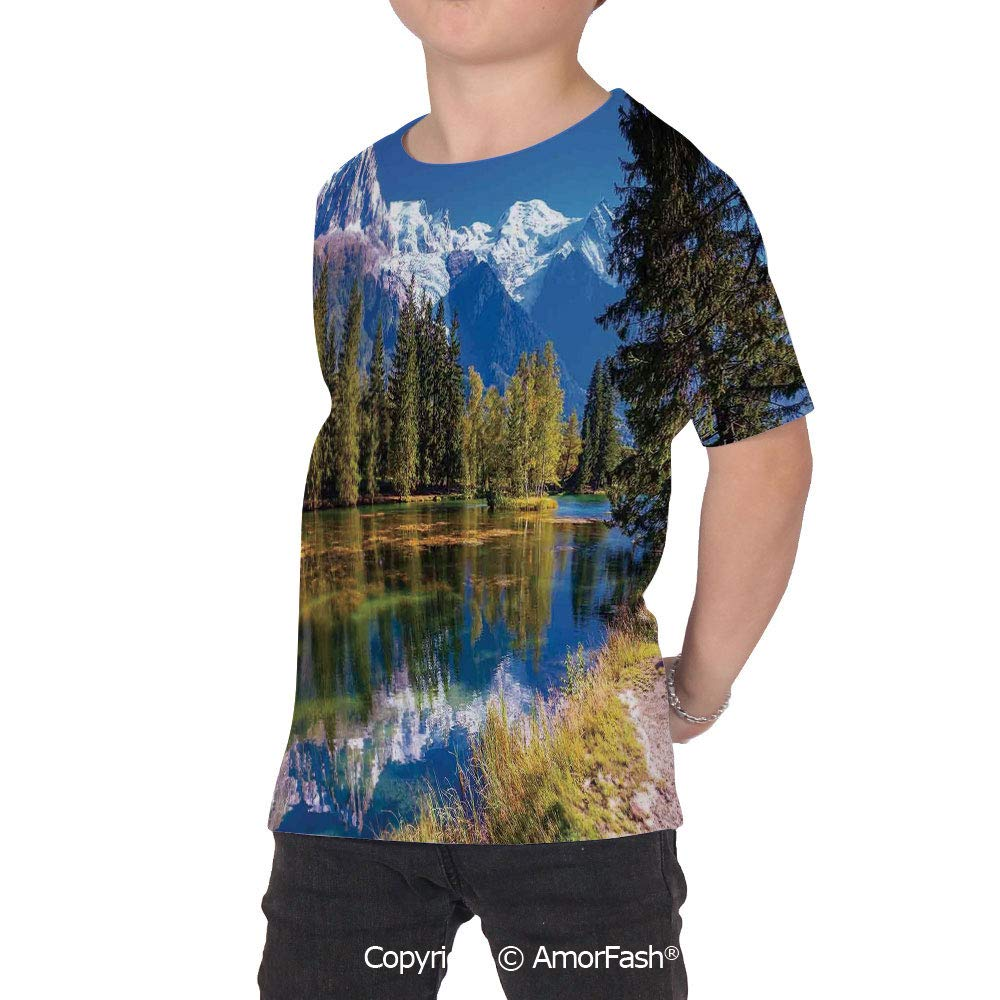 Lake House Decor Over Print T-Shirt,Boy T Shirt,Size XS-2XL Big,Snow Covered Alp