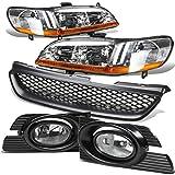 Honda Accord 4DR Headlight (Chrome)+Bumper Fog Light (Clear Lens)+Grille - 6th Generation CG1 CG5 CG6