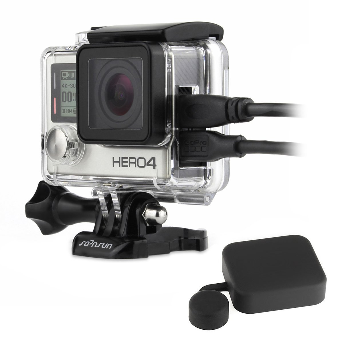 SOONSUN Side Open Protective Skeleton Housing Case with LCD Touch Backdoor for GoPro Hero 4 Silver
