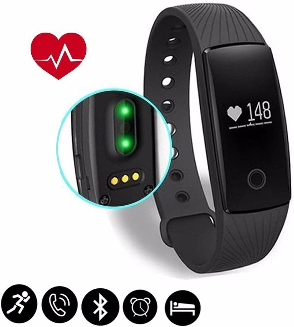 Fitness Tracker,SCODE ID107 Heart Rate Monitor – BT 4.0 Smart Bracelet Activity Fitness Tracker Sleep Monitor HR Wristband Waterproof IP65 Wireless Pedometer for Android and iOS