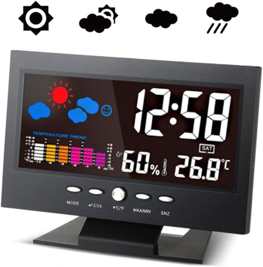 WINOMO - Despertador digital LCD con control de voz, termómetro, higrómetro, temperatura m, para interior y exterior, color negro: Amazon.es: Coche y moto