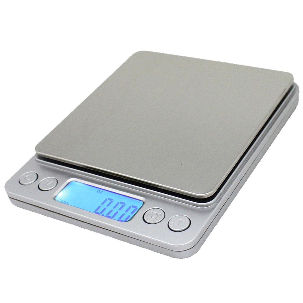 Spirit digital kitchen scale accuracy pocket food scale pronto digital multifunction cooking scale 0 01oz 0 1g 3000g with back lit lcd display (silver)