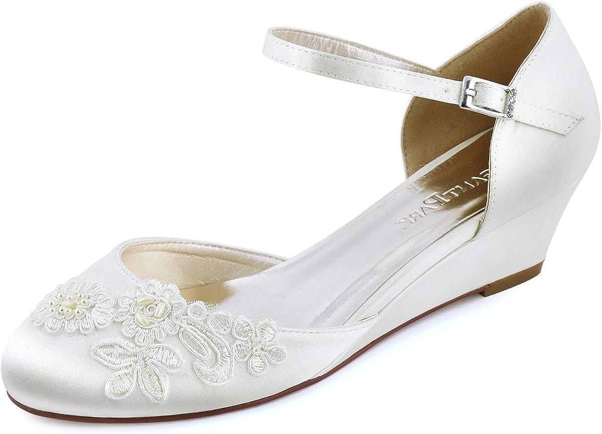 ElegantPark WP1716 Mujer Cerrado Dedo del pie Medio Talón Porciones Aplique Correas Hebilla Satín Boda Nupcial Zapatos