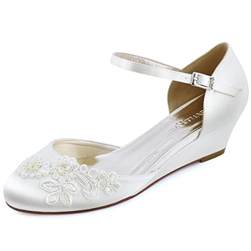 5ae420dc4f6a ElegantPark WP1716 Women Shoes Mid Heel Round Toe Pearls Applique Satin  Bridal Wedding Wedges Ivory US