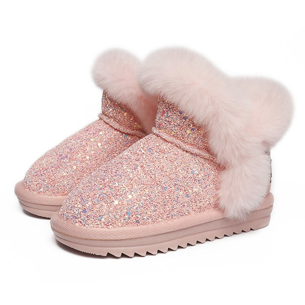 CYBLING Fashion Classic Bling Sequins Snow Boots Kid Warm Cotton Shoes Winter Boots
