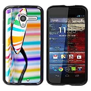Paccase / SLIM PC / Aliminium Casa Carcasa Funda Case Cover para - Pattern Colors Stripes Orange Blue - Motorola Moto X 1 1st GEN I XT1058 XT1053 XT1052 XT1056 XT1060 XT1055