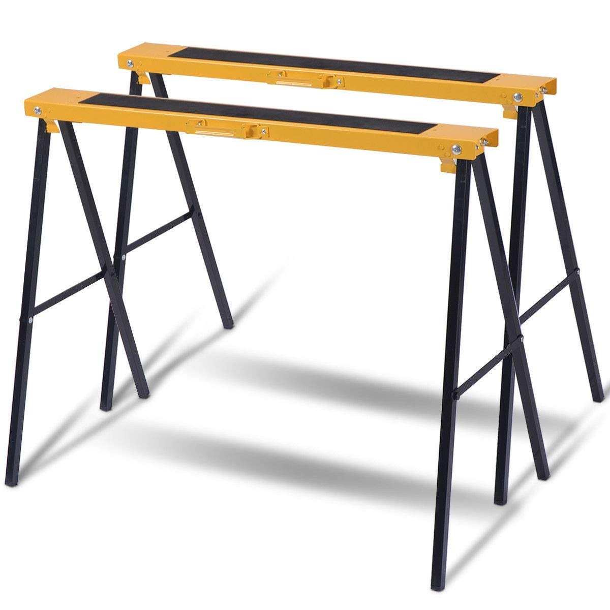 Sawhorse Heavy Duty Folding 2 Pack Steel Portable Saw Horse Legs Pair Workshop MD Group by MD Group (Image #1)