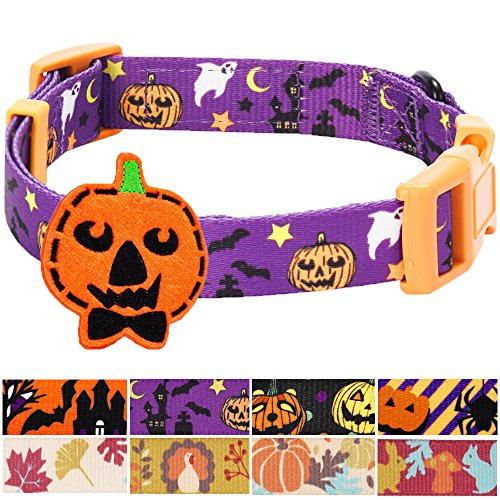 [Blueberry Pet 8 Patterns Halloween Darkness Deserted Castle Designer Dog Collar with Decoration, Small, Neck 12