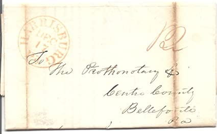 Amazon.: 1836 Stamp Less Folded Letter Postmarked Harrisburg