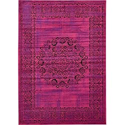 Luxury Modern Vintage Inspired Overdyed Area Rugs Fuchsia 7' x 10' FT Artis Designer Rug Colorful Craft Rugs and Carpet