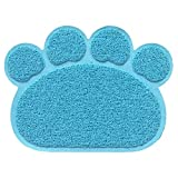 Cat Litter Mat - Pet Food Water Bowl Feeding Placemat Paw Shape - Non-slip - Easy Clean - Stylish Design and Color(Light Blue)