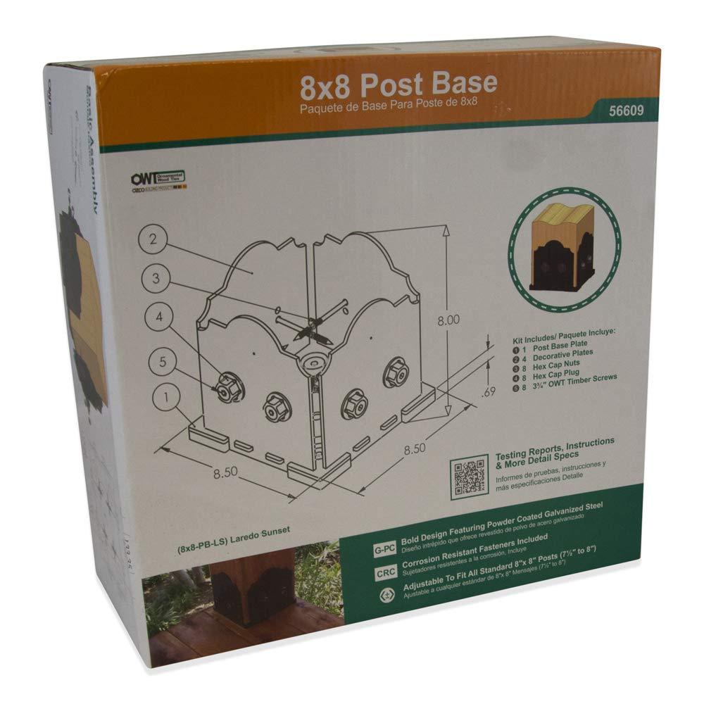 1 per Pack OZCO 56609 Laredo Sunset 8x8 Post Base Kit,