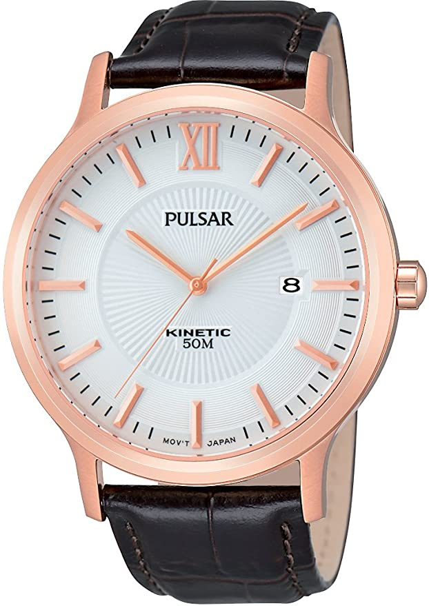 Par184x1 Herren Analog Quarz Leder Armbanduhr Pulsar F3TclKJ1