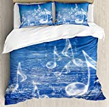 Our Wings Music Comforter Set,Magical Water Musical Notes Bubbles Dancing Waves Fantasy Music More Than Real Theme Bedding Duvet Cover Sets Boys Girls Bedroom,Zipper Closure,4 Piece,Blue Twin Size