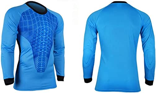 COOLOMG hombres pantalones M-3 X L Soccer Keeper – Camiseta de portero de fútbol portero Portero acolchados de espuma de jersey camisa, hombre Infantil mujer, color Azul - azul, tamaño 2XL: Amazon.es: