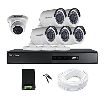79eb9c1091255 Buy Hikvision 8 Channel Full HD DVR Kit with 6 CCTV Cameras (White ...