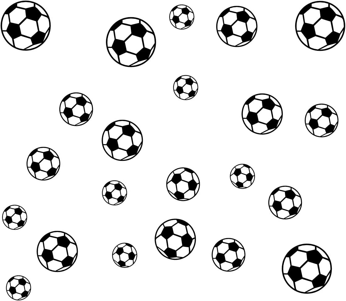 JUEKUI Set of 37pcs Soccer Ball Sticker Wall Decals for Kids Rooms Bedroom Soccer Fans Home Decor WS28 (Black)