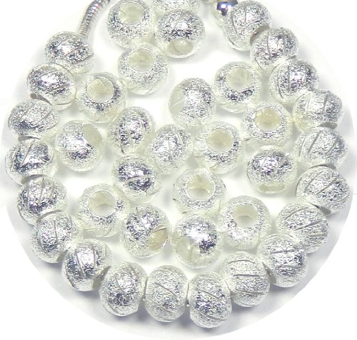 Rockin Beads Brand, 40 Beads Stardust Cut Lace Beads Large 5mm Hole Shiny Silver European (10 Mm Stardust Beads)