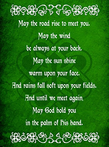 Hat Shark Irish Blessing Prayer May The Road Rise Up Green Celtic Knot 18x24 - Vinyl Print Poster